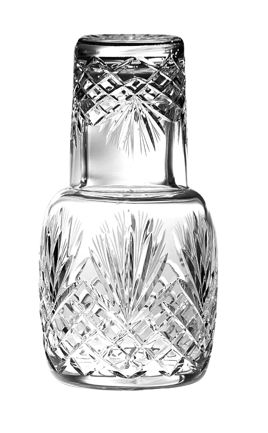Barski - Mouth Blown - Hand Cut - Crystal - 2 Piece Set - 25 oz . Bedside Night Carafe / Desktop Carafe with Tumbler Glass - 8.25'' H - Made in Europe