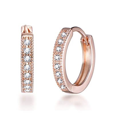 7670e1bcc Rose Gold 20mm Hoop Earrings with Crystals from Swarovski®: Amazon.co.uk:  Jewellery
