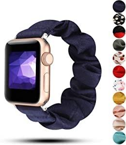 Women Scrunchie Bands Compatible for Apple Watch Band 38mm 40mm 42mm 44mm,Cute Pattern Printed Bracelet Replacement Wristbands for iWatch Series 5 4 3 2 1 (Navy Blue, 38/40mm)