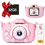 Kids Camera Digital Dual Camera, Toys Gift for 3-8 Years Old Kids, Video Recorder Anti-Drop Cartoon Camera with 2 Inch IPS Sc