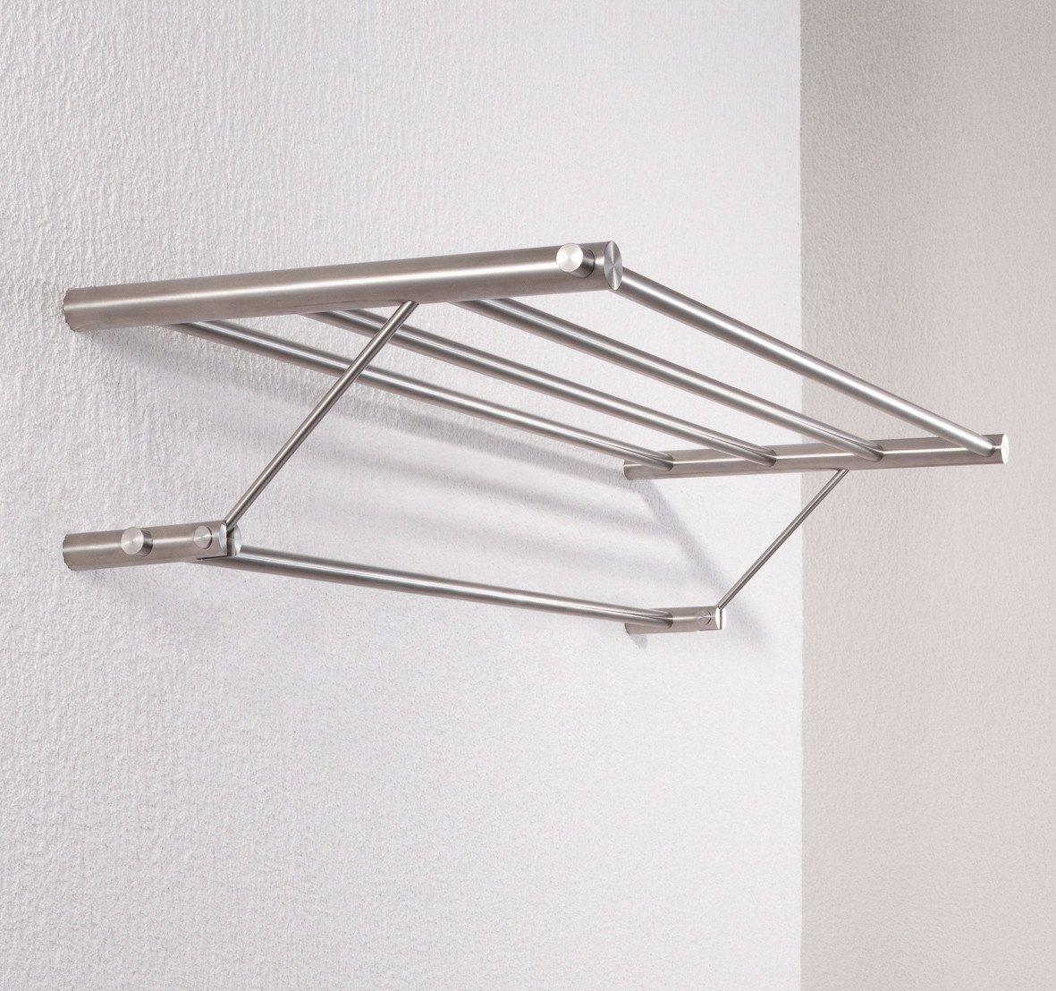 PSBA Shelf Towel Hanging Storage Towel Rack W/ Bar Holder Stainless Matte Steel( 25.2-inch)
