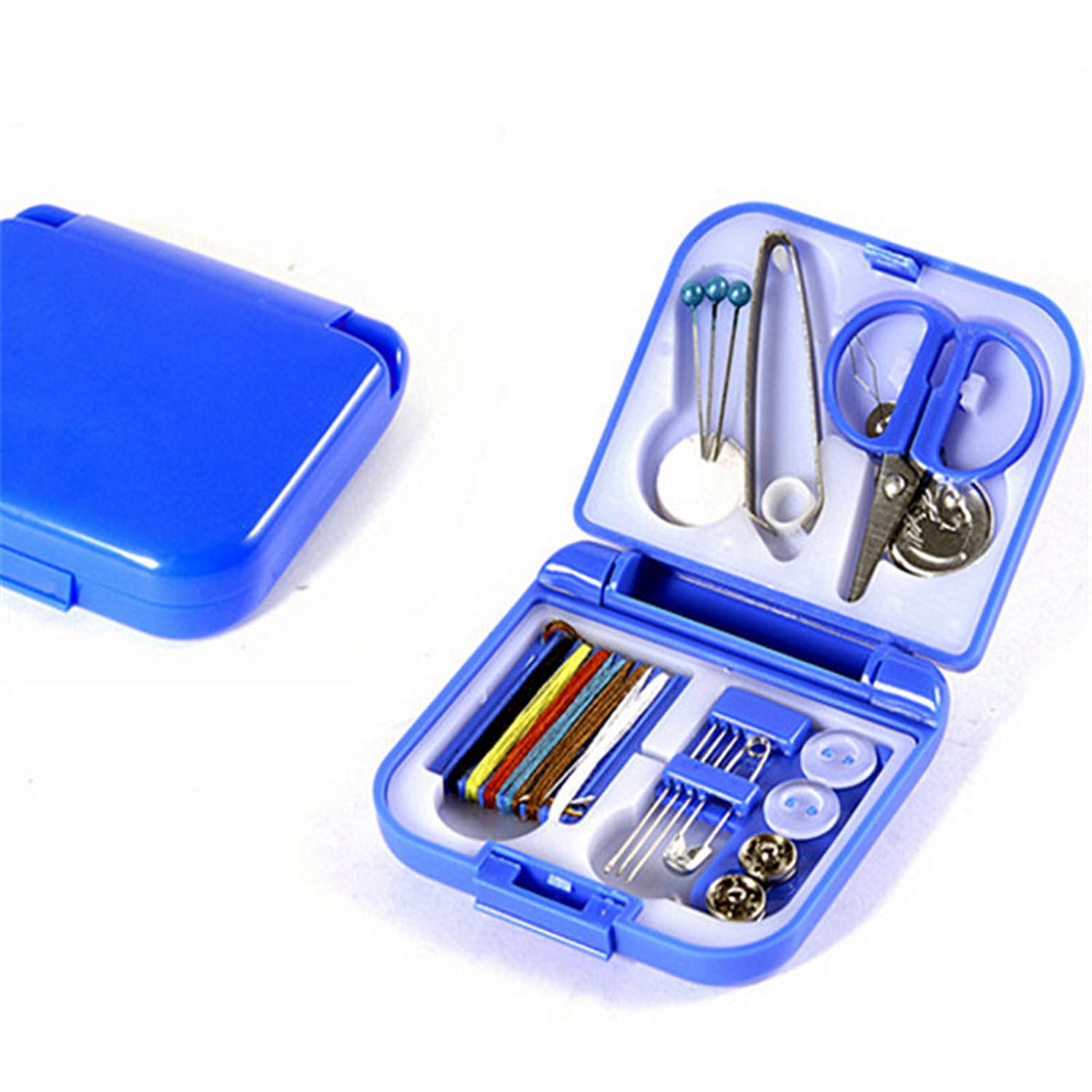 Portable Household Sewing Box,Sewing kit Sewing,eedle and Thread to sew Stitches Hand,Tool Kit (Blue) LJK