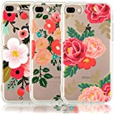 iPhone 8 Plus Case, iPhone 7 Plus Case, [3-Pack] CarterLily Watercolor Flowers Floral Pattern Soft Clear Flexible TPU Back Case for iPhone 7 Plus  iPhone 8 5.5'' - Red Flowers