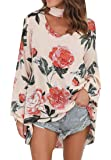 JWK Womens Halter Blouses Long Sleeve Sexy V-Neck Printed T-Shirt Top