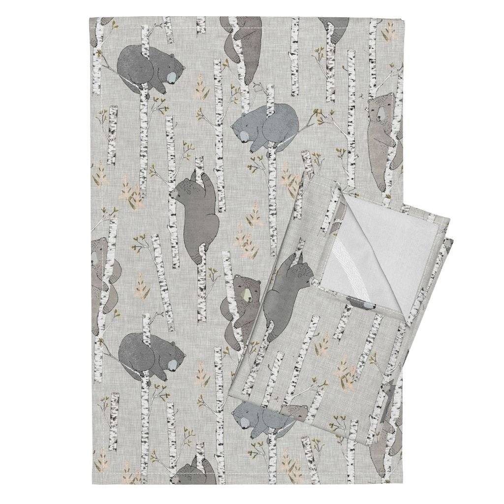 Roostery Bear Tea Towels Birch Forest Woods Woodland Boy by Nouveau Bohemian Set of 2 Linen Cotton Tea Towels by Roostery (Image #1)