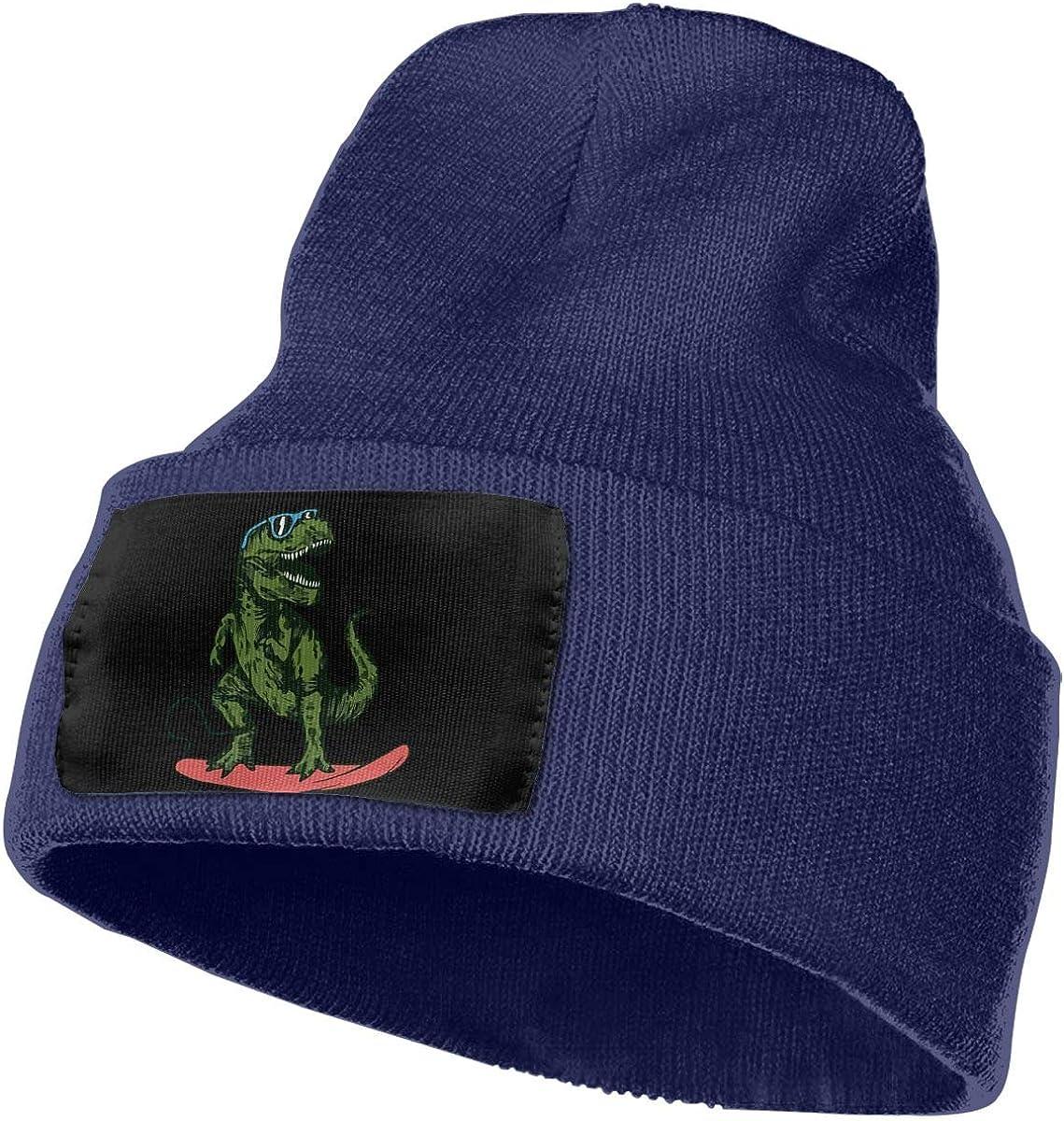 WHOO93@Y Mens Womens 100/% Acrylic Knitting Hat Cap Happy Dinosaur Surfer Wearing Sunglasses Cute Ski Cap