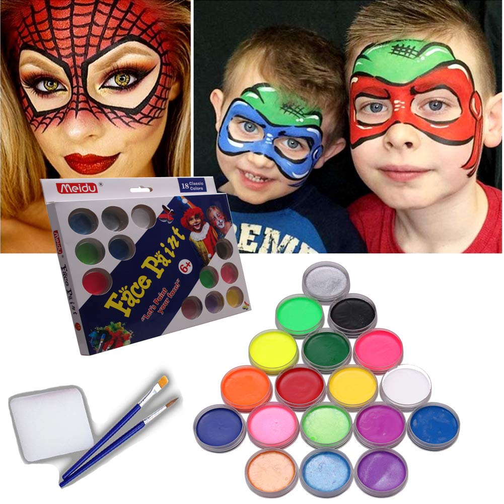 Face Paint Kit for Kids by Meidu| Non-Greasy Face Painting Set Complete W/ 18 Vibrant Colors & 2X Brushes for Halloween & Parties| Non-Toxic, Certified-Safe for Kid's Skin& Dermatologically Tested