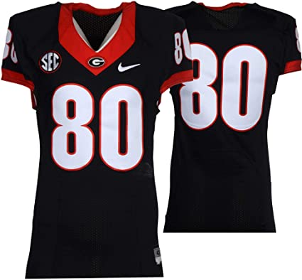 huge selection of 6ecf2 9f3bf Georgia Bulldogs Game-Used #80 Black Jersey with SEC Patch ...