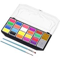 COOK JOY Kit de Pintura Facial para Niños, 20 Colores Fuorescentes y Mate 2 Tipos de Polvo Suelto Pintura Facial y Corporal para Regalos de Cumpleaños, Halloween, Navidad