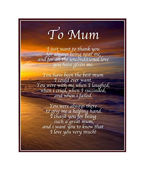 personalised to mum poem mothers day birthday christmas anniversary