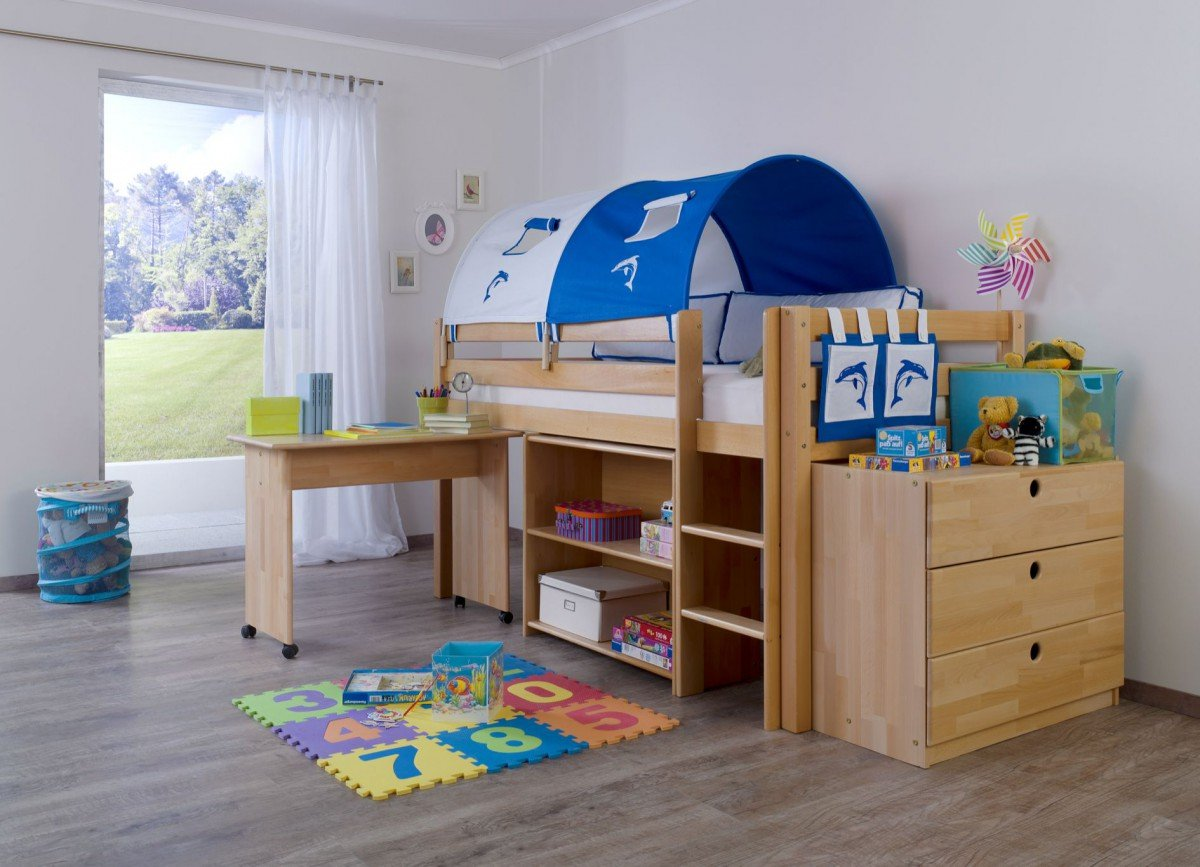 Dreams4home Kinderbett Hochbett Spielbett Bett Trino Delphino