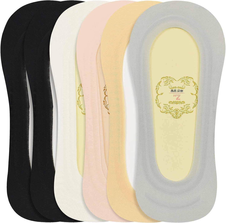 heekpek 6 Pares Calcetines Mujer Invisibles Algod/ón Calcetines Cortos de Tobillo Antideslizantes El/ástco Con Silicona Socks