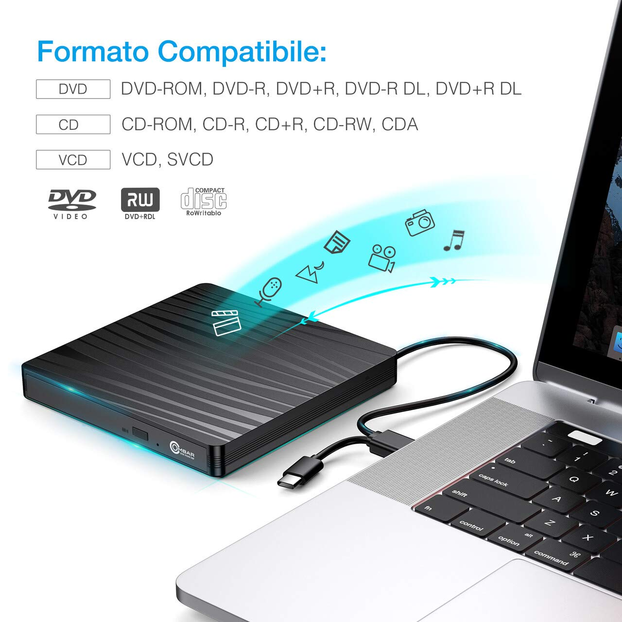 OMBAR Unità Ottica Esterna CD DVD , USB 3.0 e Tipo-C Dual Port Adatto per Laptop, Desktop, Mac, Macbook, IOS, Windows 10/8.1/7 e Linux, Nero