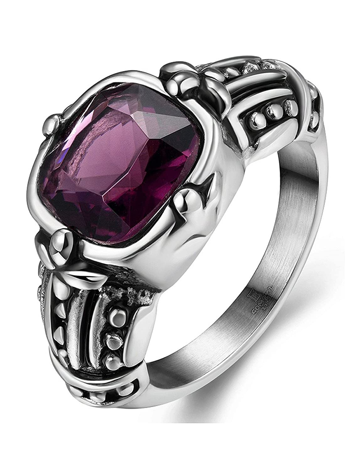 Men's Vintage Gothic Tameless Cushion Cut Amethyst Stainless steel Band size 8