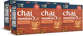 Tea India Chai Moments Instant Cinnamon Chai Tea Latte Mix, 10 Count (Pack of 6)