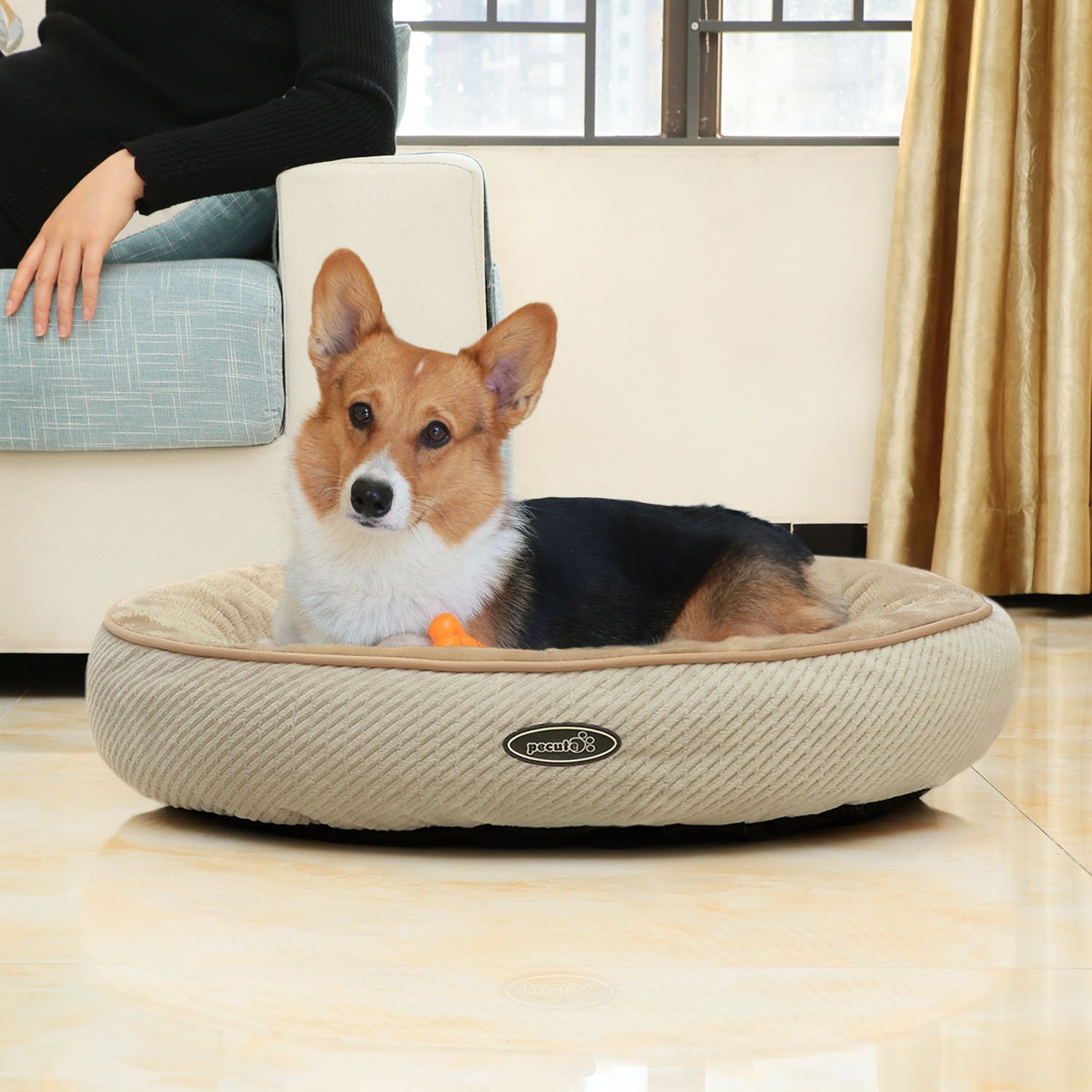 Dog Bed Cat Pet Soft Round Bed Machine Washable Coral Fleece Interior for Small Pet