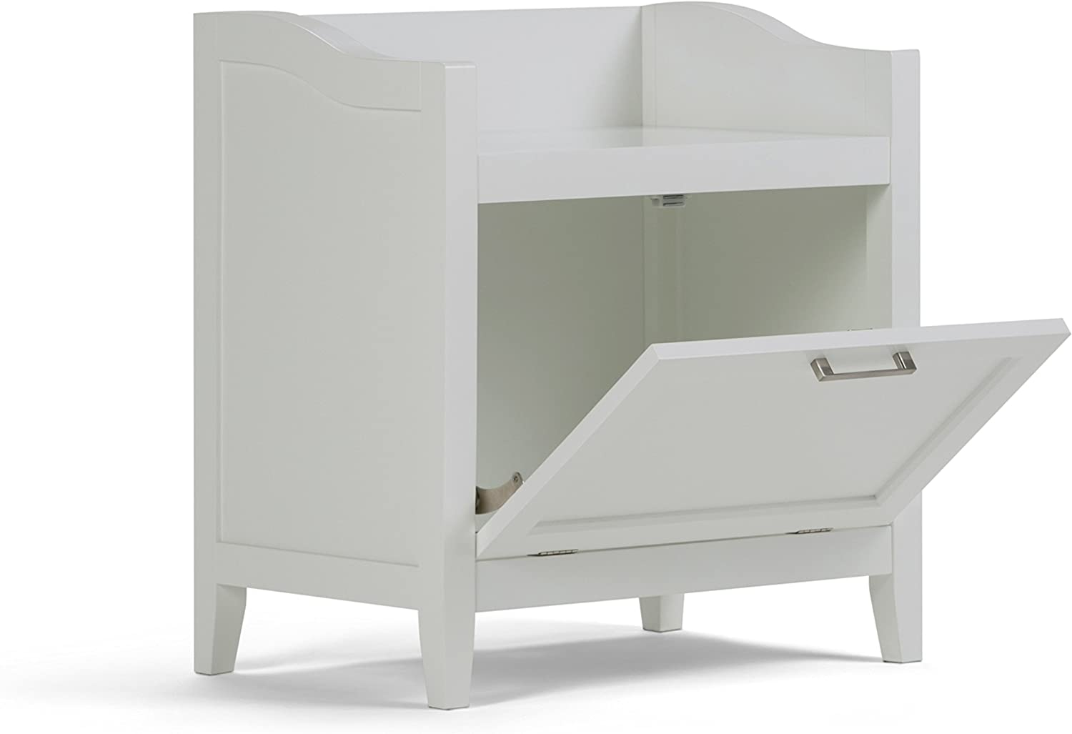 Simpli Home Avington 24.2 inch H x 21.7 inch W Storage Hamper Bench in White