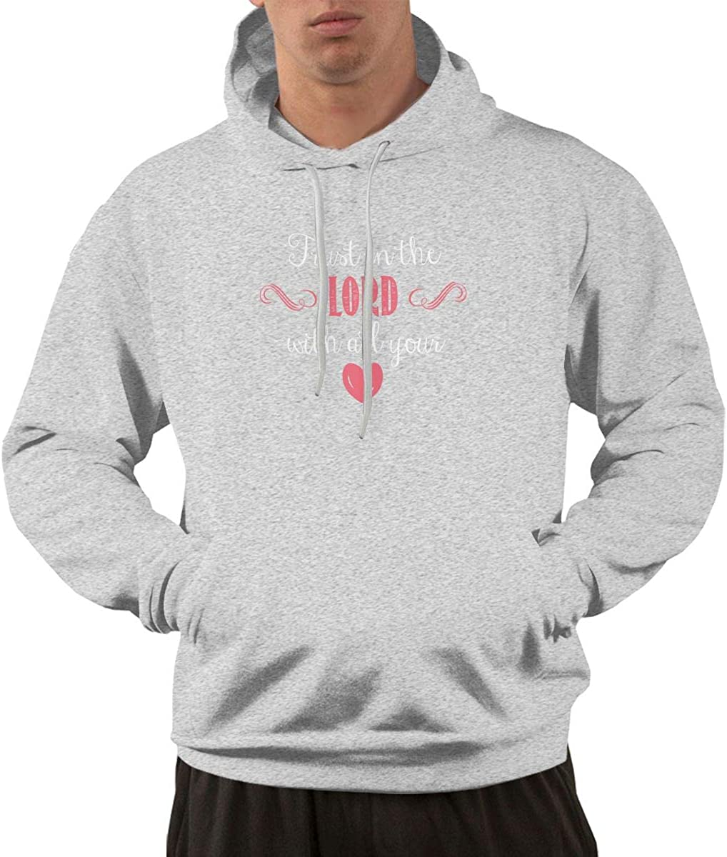 Trust in The Lord Men Printed Pullover Long Sleeve Hooded Black Sweatshirts with Pockets