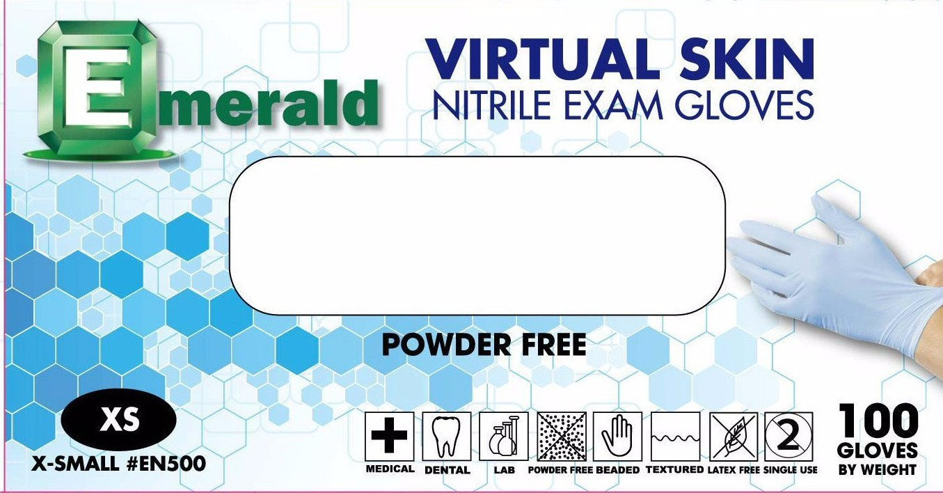 Emerald Virtual Skin Nitrile Exam Powder-Free Gloves 4 mil Small, Case (10 BX/CS) by Emerald