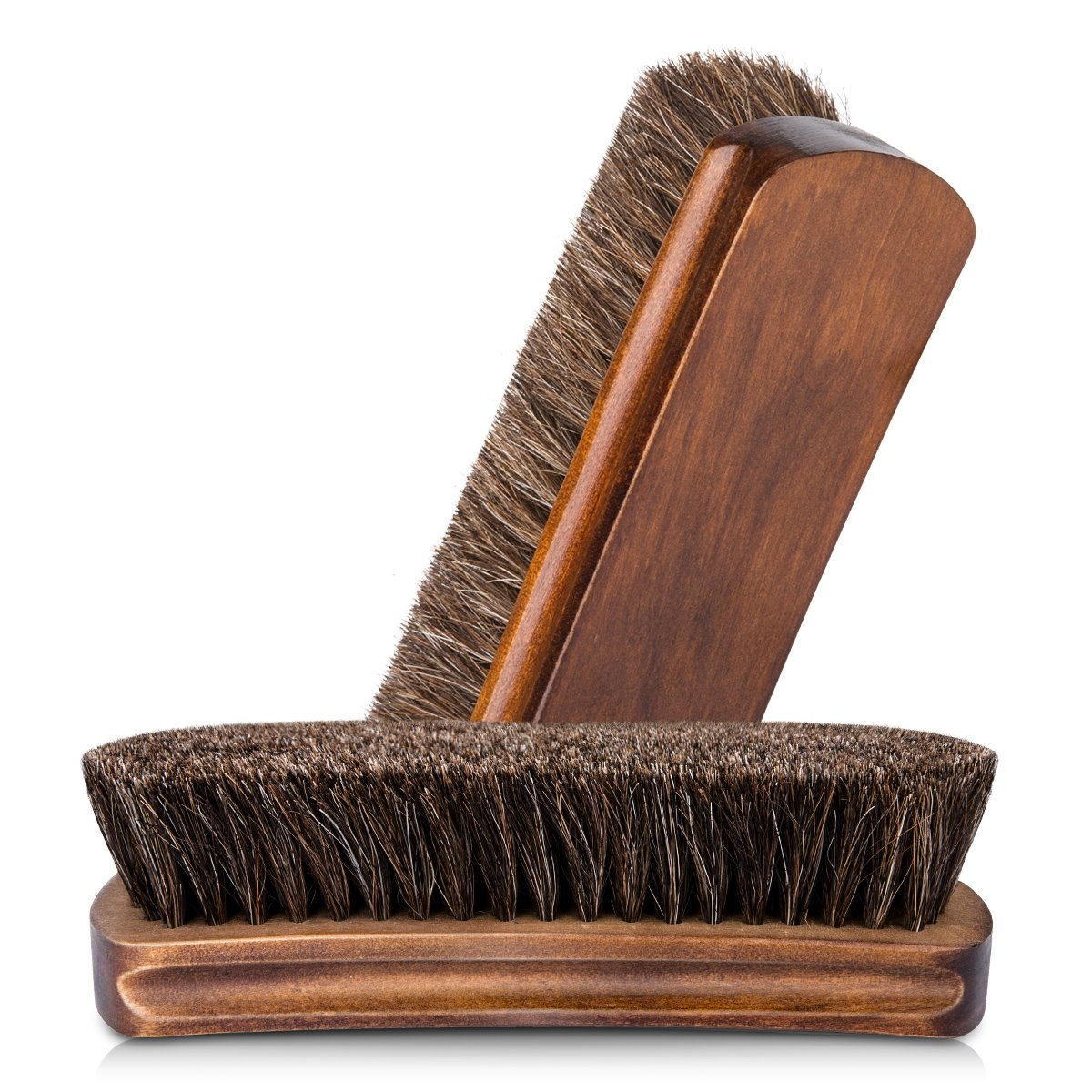 6.7'' Horsehair Shoe Shine Brushes with Horse Hair Bristles for Boots, Shoes & Other Leather Care, 2 Pack