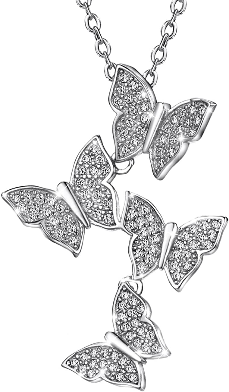 Sterling Silver Jeweled Butterfly Pendant  w// Cubic Zirconia Stones