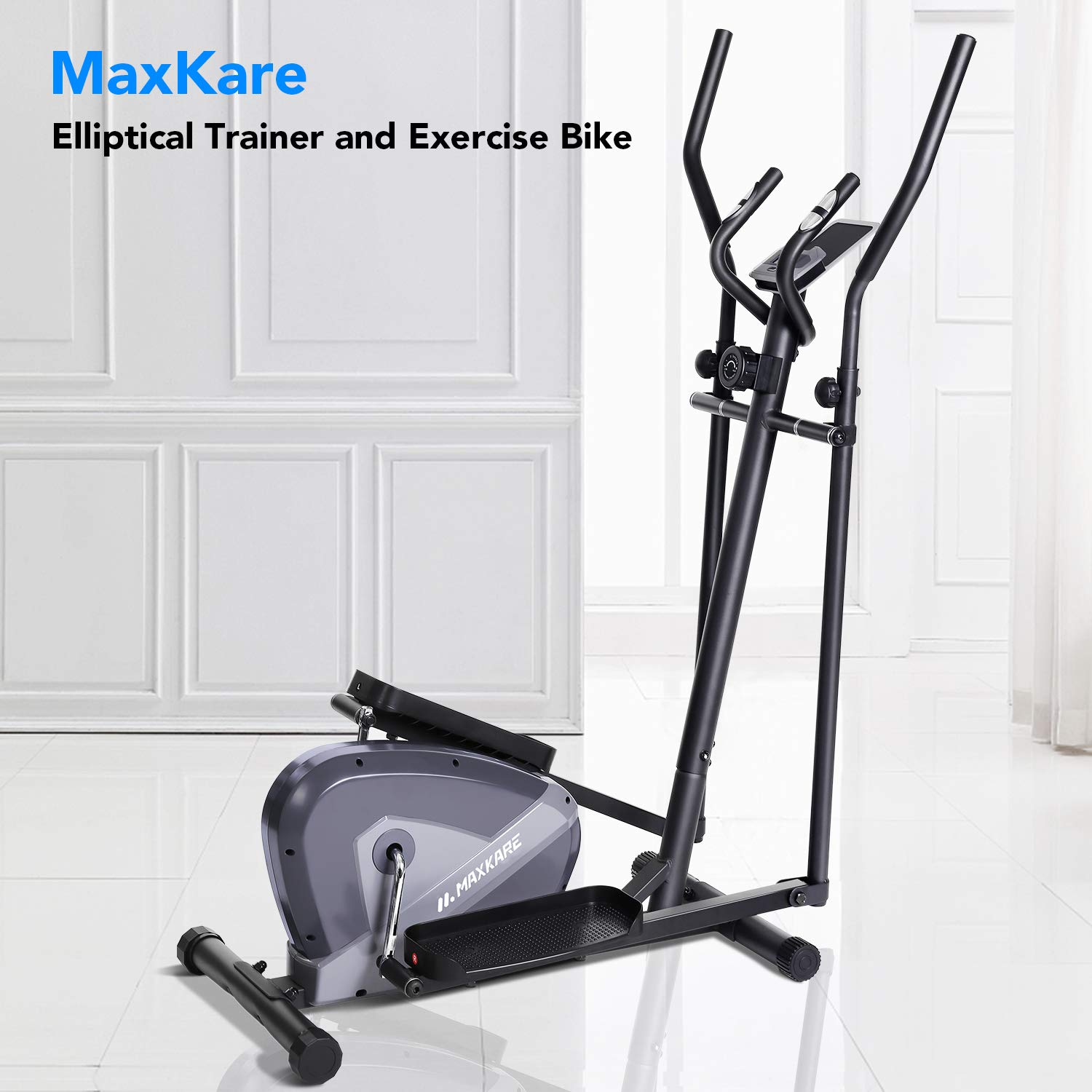 MaxKare Exercise Bike Cardio Training Elliptical Trainers-Portable Upright Fitness Workout Bike Machine,8-Level Magnetic Resistance,LCD Monitor,Heart Rate Monitor,Quiet Driven,Calories Burned by MaxKare (Image #6)