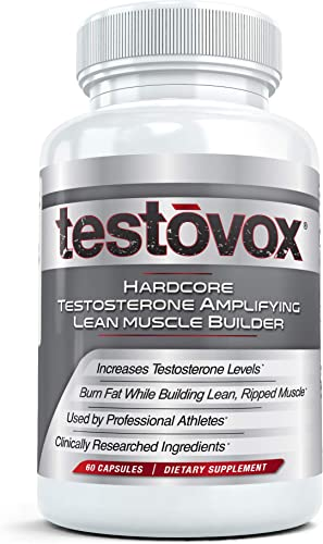 Hardcore Muscle Builder and Testosterone Booster – Testovox Build Lean Mass, Strength, Enhance Men s Performance Supplement Jump Start Your Libido Formula with Tribulus Terrestris Extract 60 Cap