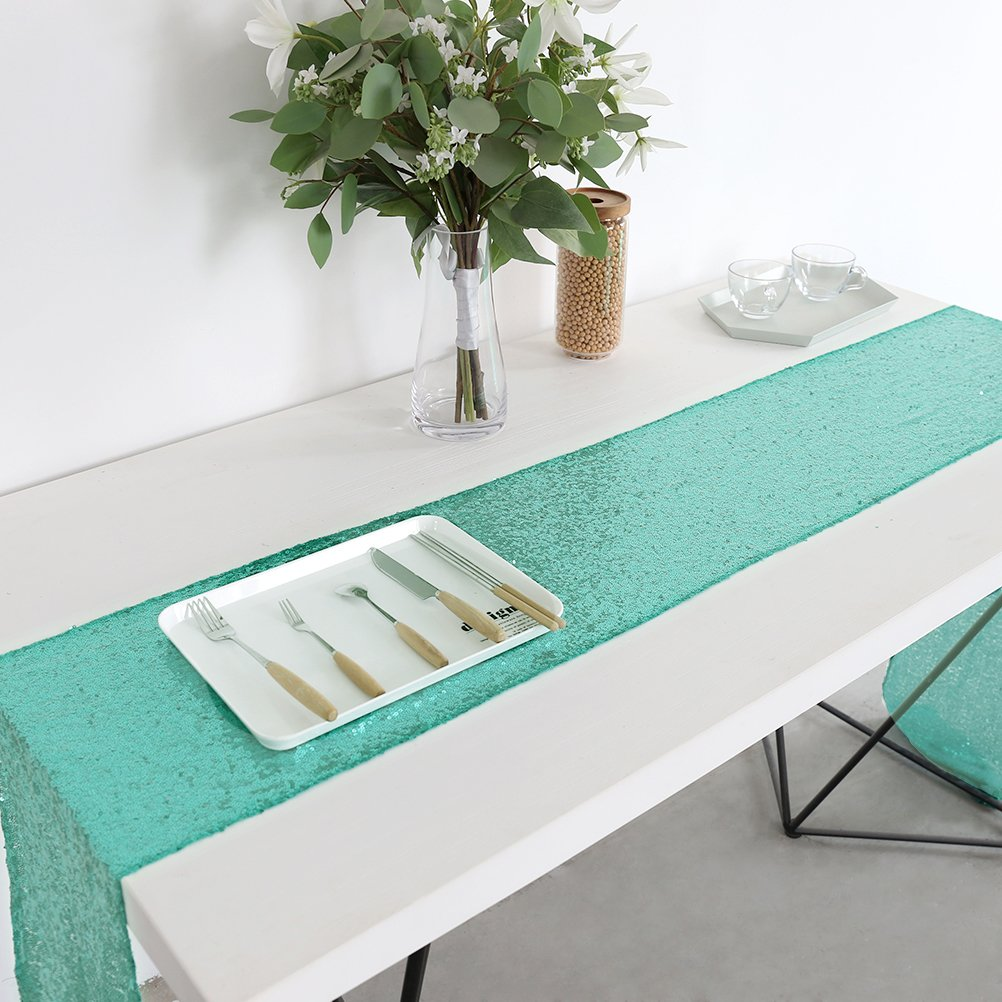 Sequin Wedding Reception Table Linens, Pack of 10 Rose Gold 12x72inch Table Runners