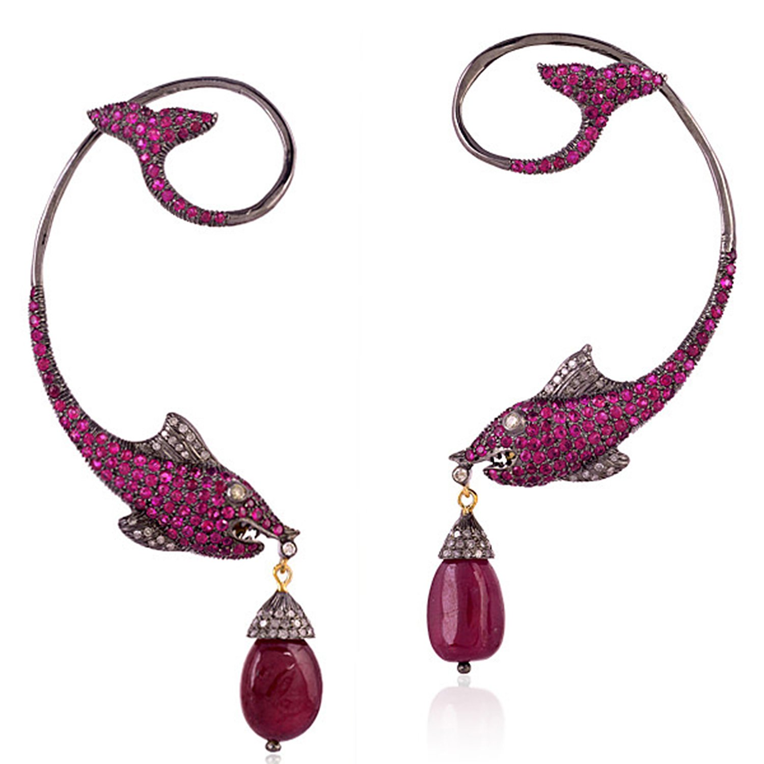 Ruby and Diamond Fish Style Ear Crawler Cuff Climber Earrings in 18K Yellow Gold & Sterling Silver