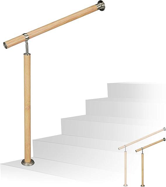 /Ø 42mm Aluminium Brun 100 cm Main Courante escalier Relaxdays 10026020/_631 Rampe INOX 12 x 100 x 8 cm Marron Aspect ch/êne int/érieur ext/érieur