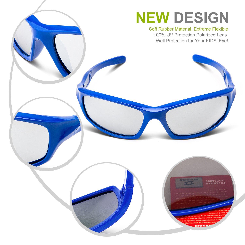 RIVBOS RBK103 UV400 Rotondi Bambini Occhiali da Sole Polarizzati Silicone Flessibile Telaio Gommato Ragazzi e Ragazze per 3-10 Anni