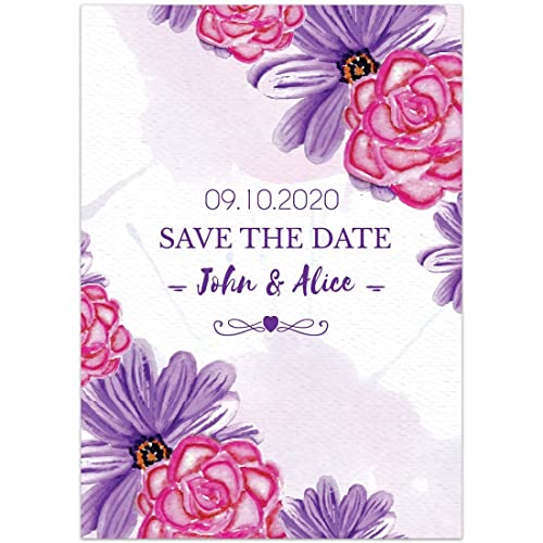 Amazon watercolor paper flowers pink purple save the date watercolor paper flowers pink purple save the date wedding invitations mightylinksfo