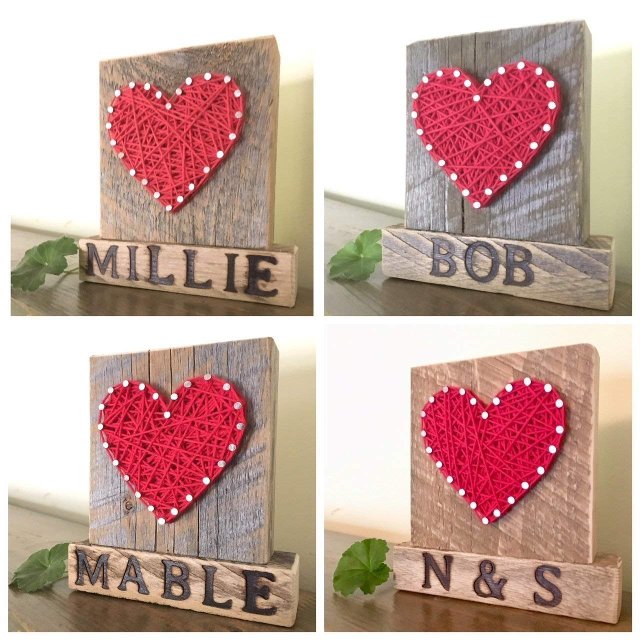 Sweet & small custom name wooden string art heart sign. Perfect gift for baby showers, pets owners, weddings and anniversary gifts. Unique sympathy gifts. By Nail it Art.