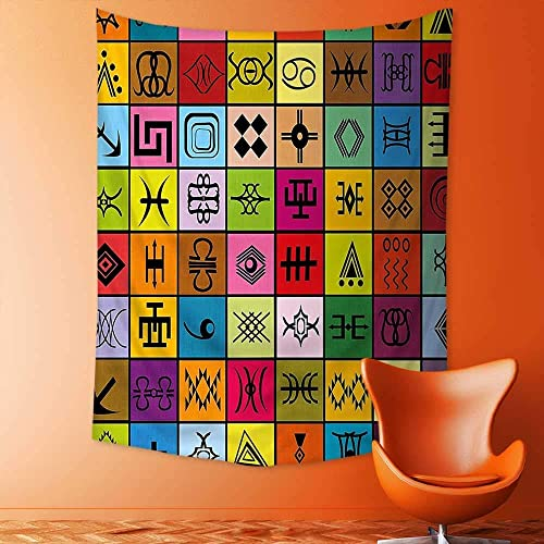 jjdncjdhf11 Wall Hanging 3D Printing Tapestry Ethnic Elements Collage in Colorful Squares Aboriginal Symbolic Figures Theme Purple Red Wall Tapestry for Dorm Living Room Bedroom 150×200 cm