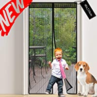 Magnetic Screen Door Mesh Curtain: Fly Insect Screen Door with Powerful Magnets and Snap Shut Automatically - Keeps Mosquitoes Bugs Out - Fits Door Up to 90 x 210cm-Black