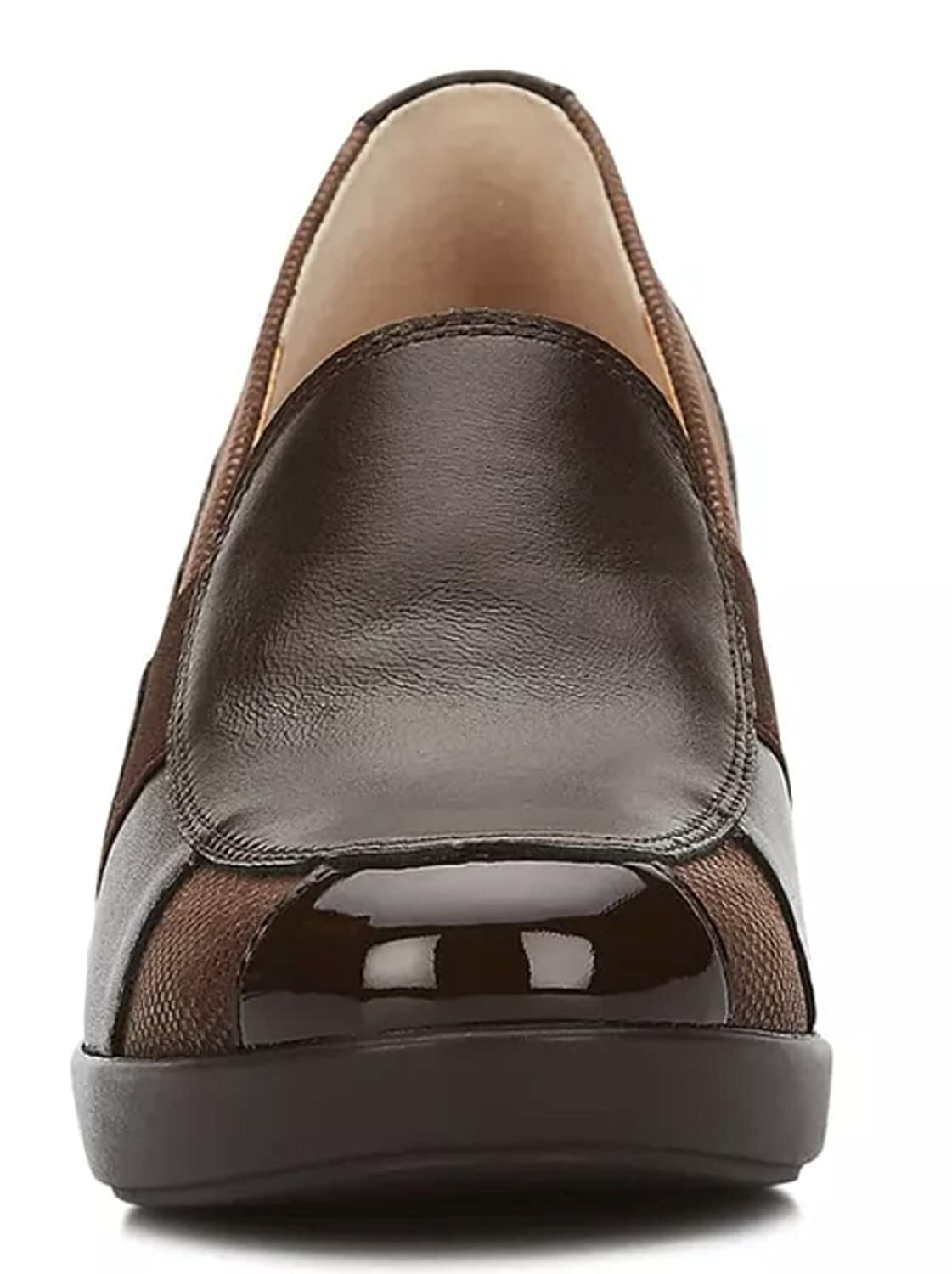 Andrea Shoes Comfort Women's Genuine Textured Leather Mid Wedge B079SXZMM3 9.5 B(M) US|Brown