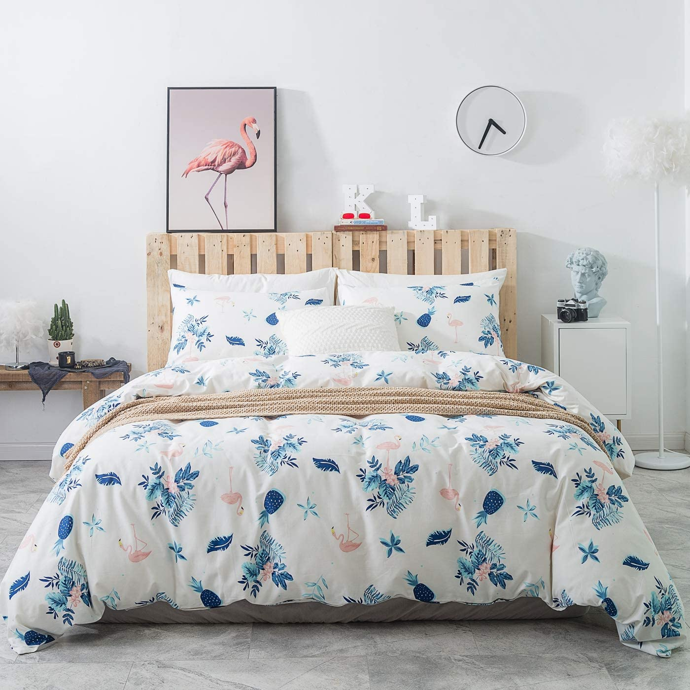 YuHeGuoJi 3 Pieces Pineapple Duvet Cover Set 100% Cotton White King Size Blue Floral Bedding Set 1 Pink Flamingo Print Duvet Cover with Zipper Ties 2 Pillowcases Hotel Quality Soft Breathable Durable
