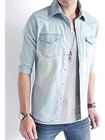 (オークランド) Oakland ヴィンテージ加工 ストレッチ デニムシャツ シャツ 長袖 7分袖 モード 色落ち カジュアル デザイン メンズ