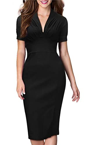 ACEVOG Women's Deep-V Neck Bodycon Short Sleeve 1950'S Vintage Casual Dress