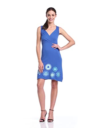 Desigual - estrella - robe - été - femme - bleu (royal) - xl