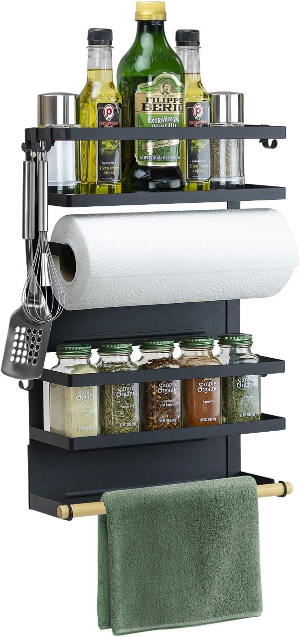 Sorbus Magnet Spice Rack Organizer for Refrigerator, 4-Tier Magnetic Storage Shelf with Paper Towel Holders and 5 Hooks, Multi-purpose, (Large, Black)