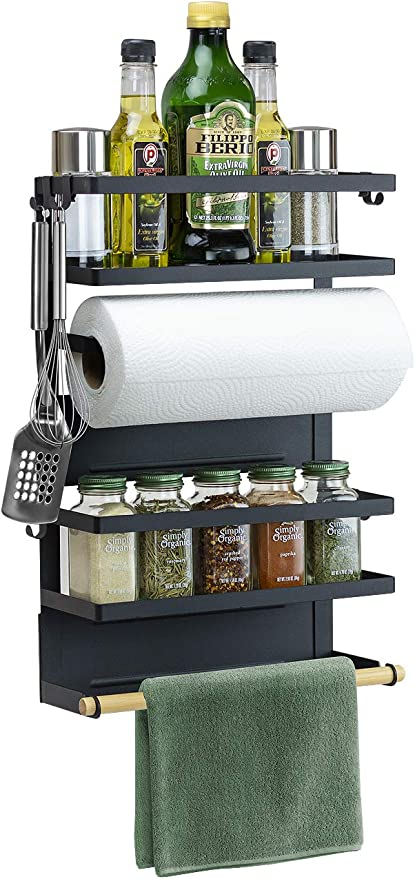 Magnetic Rack Organizer Spice Storage Shelf Kitchen Refrigerator Holder Tool