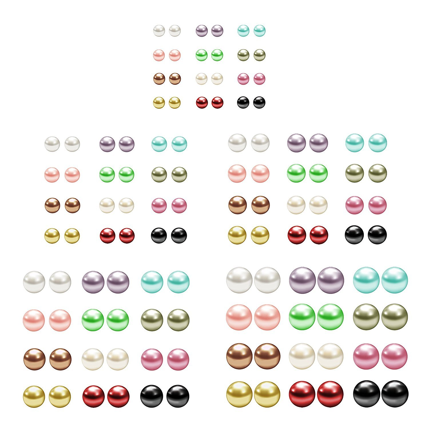 Assorted Mixed Color Wholesale Lot Imitation Pearl Earrings Studs Gift Set, Stainless Steel Earrings Pin, Hypoallergenic
