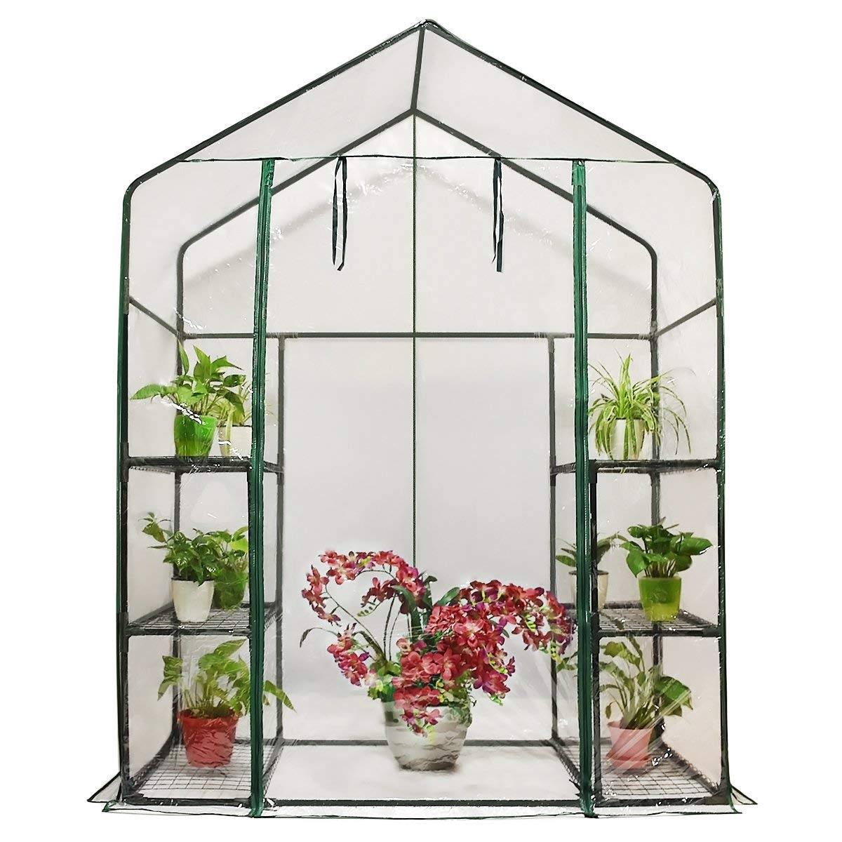 Quictent Greenhouse Mini Walk-in 3 Tiers 6 Shelves 102lbs Max Weight Capacity Portable Plant Garden Outdoor Green House 56 x29 x77