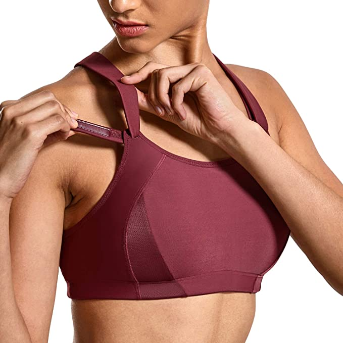 SYROKAN Women's Front Adjustable Lightly Padded Shock Control High Impact Sports Bra Dark Red_New 34D best sports bra