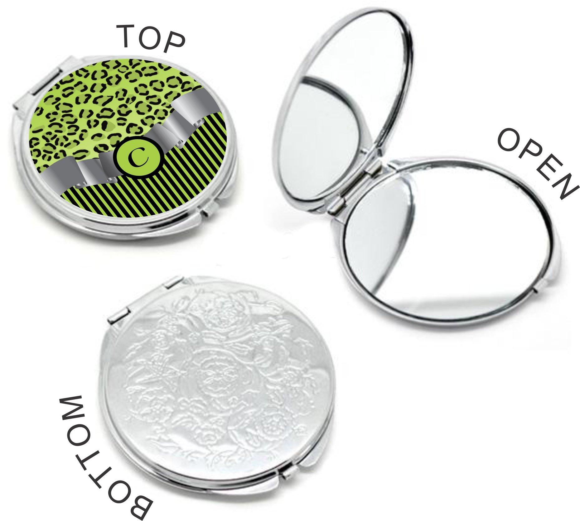 Rikki Knight Letter''C'' Lime Green Leopard Print Stripes Monogram Design Round Compact Mirror