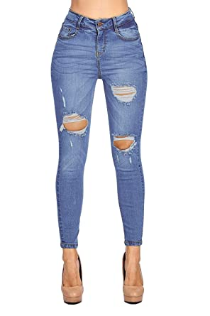 e4f9826b6f Blue Age Womens Destroyed Ripped Distressed Skinny Jeans at Amazon ...