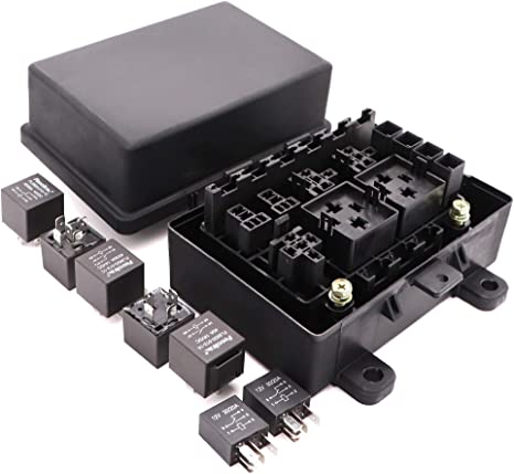 amazon.com: waterproof fuse relay box with 7 relays and 10 fuses ... fuse box spacer fuse block wiring diagram amazon.com