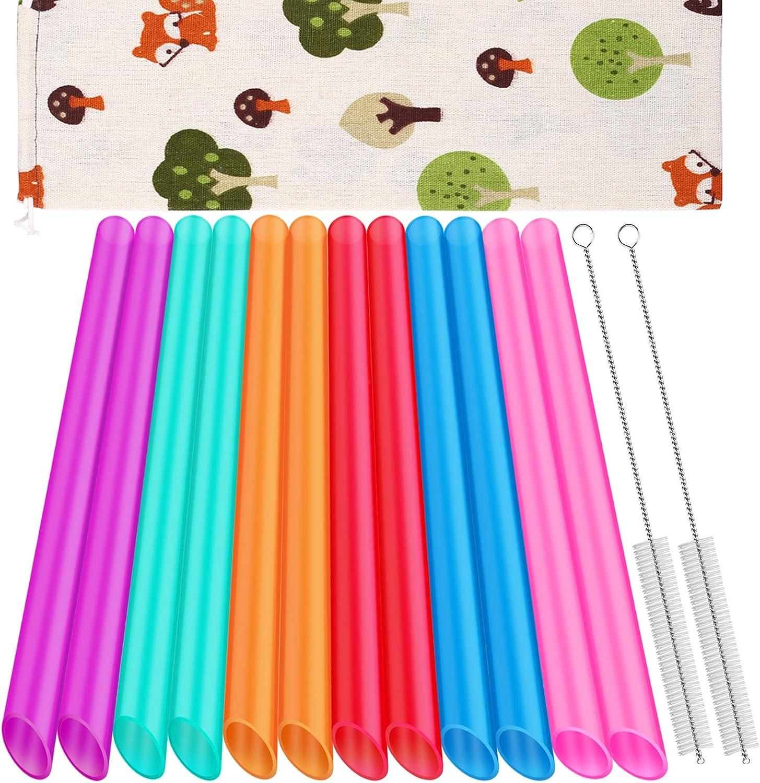 [Angled Tips] 12 Pcs Reusable Boba Straws and Smoothie Straws with 1 Storage Bag and 2 Brushes, BPA Free Food Grade