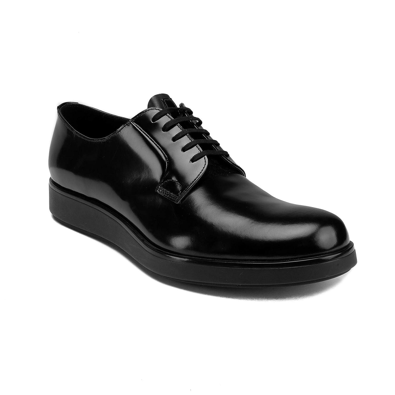 Prada Men's Brushed Leather Derby Oxford Dress Dress Dress schuhe schwarz c7c5f7
